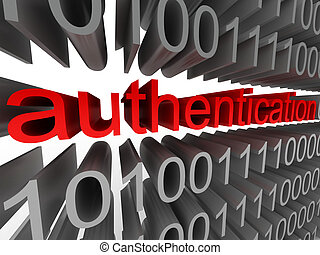 Authentication in the form of binary code isolated on white...