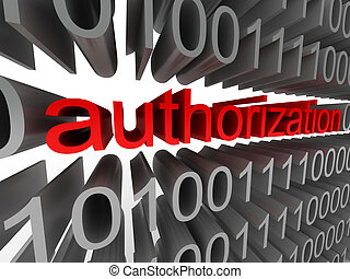Authorization in the form of binary code isolated on white...