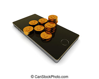 Mobil banking. Smartphone and golden coins isolated on white...