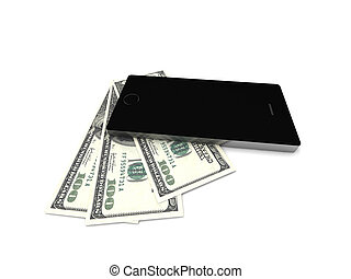Mobil banking. Smartphone and dollar bills isolated on white...