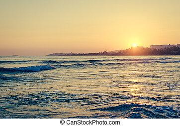 在上方, 傍晚, 海