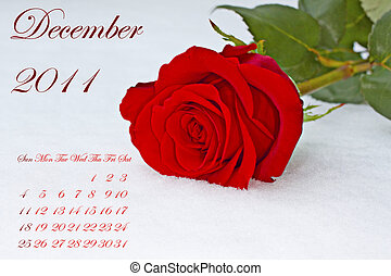 December 2011 - Page of 2011 calendar for December, with red...