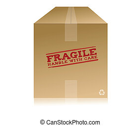 Handle With Care Box - Recycle box and rubber stamp stating...