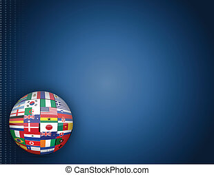 Flags globe background - detail international flags blue...