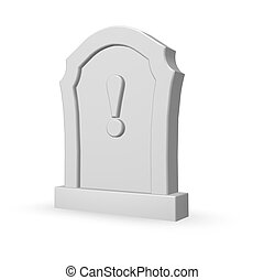 attention - gravestone with exclamation mark on white...