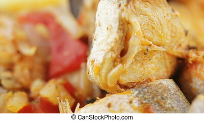 Fried pollock with onions - Pile of fried pollock with...