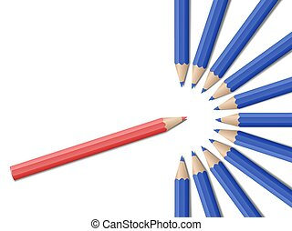 Realistic vector pencils - Single red pencil in opposite...