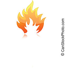 Fire - Illustration of fire flames isolated over a white...