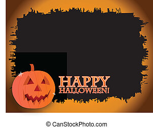 Halloween Card - Happy halloween card with a pumpkin over a...