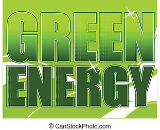 Green energy design over a light green background with waves