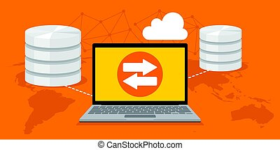 cloud storage with backup service vector illustration
