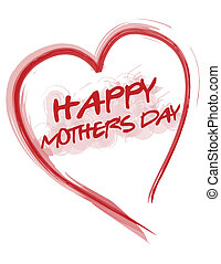 Happy mothers day love heart isolated over white.