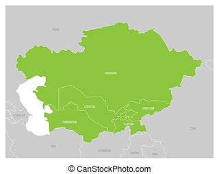Map of Central Asia region with green highlighted...