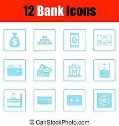 Set of bank icons.  Blue frame design. Vector illustration.