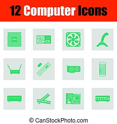 Set of computer icons. Green on gray design. Vector...