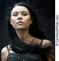Woman with flying hair - Portrait of the beautiful woman...