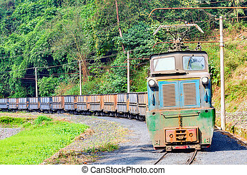 Steam narrow-gauge train. - Electric narrow-gauge locomotive...
