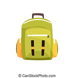Khaki backpack, classic styled rucksack vector Illustration...