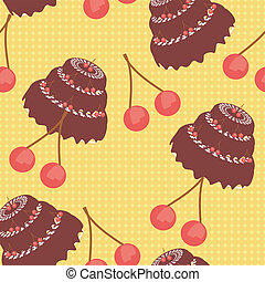 seamless background with cakes and cherry