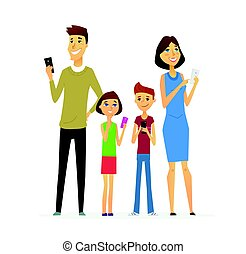 Family - colored modern flat illustrative composition. -...