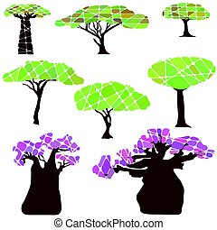 Colorful set with tree and leafs - Colorful set with tree...