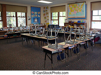 Third grade classroom in US school after dismissal