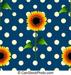 Sunflower on Yellow Polka Dots Blue Teal Background. Vector Illustration