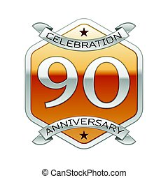 Ninety years anniversary celebration silver logo with silver...