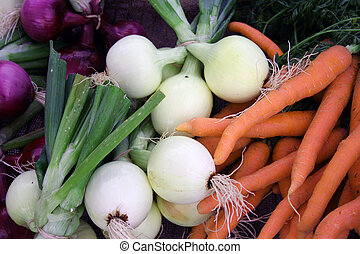 Carrots and onions - Colorful fresh vegetables carrots and...