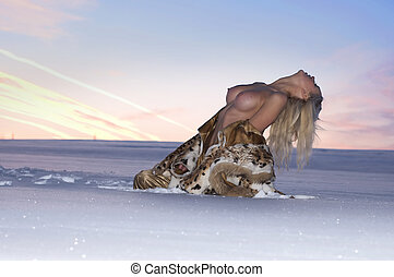 Woman with naked breast  and snow