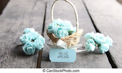 hello spring tag and flowers in a small basket - Bouquet of...