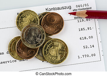 bank statement and coins - the bank statement and some coins...