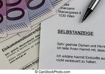 voluntary disclosure to the tax office - symbol photo for a...