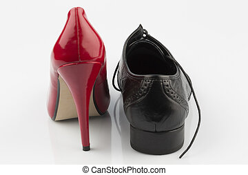 high heels and men's shoe - ladies shoes and men's shoe,...