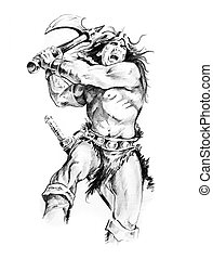 Sketch of tattoo art, warrior