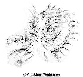 Bosquejo, tatuaje, arte, dragón