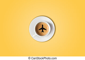 The travel concept. The airport coffee cup. Top view - The...