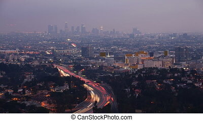 Timelapse night view in Los Angeles, California - A...