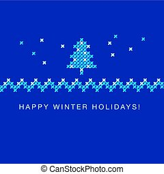 cross stitch xmas tree vector ornament. traditional embroidery white and blue pattern. winter motif for Christmas card greetings. peasant rustic style linen stitching scheme