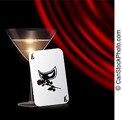 games card, glass and red drape