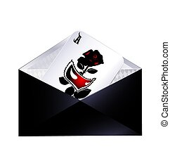 dark envelope and abstract card with mask