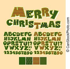 Christmas patchwork style abc font. Alphabet symbol set for xmas lettering. Cute peasant text letters with traditional patterns in green color