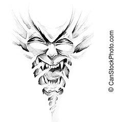 Esboço, tatuagem, arte, monstro