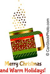 concept xmas style rustic cups. souvenir mugs set with patchwork peasant ornament. Santa cup of tea. abstract greeting card for winter holiday