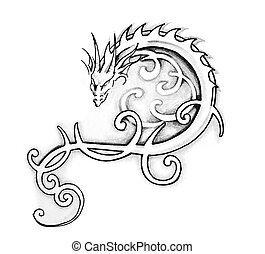 Sketch of tattoo art, dragon - Sketch of tattoo art