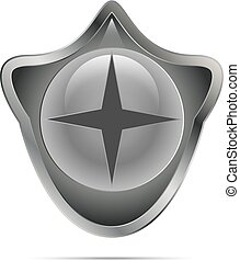 Gray shiny shield with a symbol - Vector illustration of a...