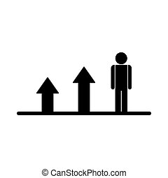 Growing business man graph. Vector flat icon.