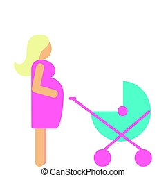Set of pregnant mother with newborn in stroller.