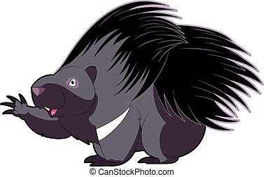 Cartoon happy Porcupine - Vector image of the Cartoon happy...