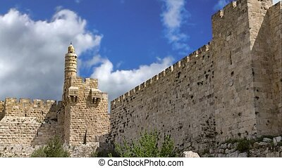 Fortification medieval walls of Jerusalem, Israel -...
